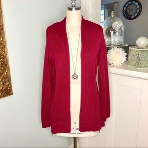J. Jill Red Open Front Sweater Cardigan Side Zip